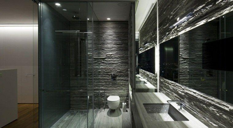 Salle de bain ardoise : naturelle et chic | Salle de bains, Salle ...