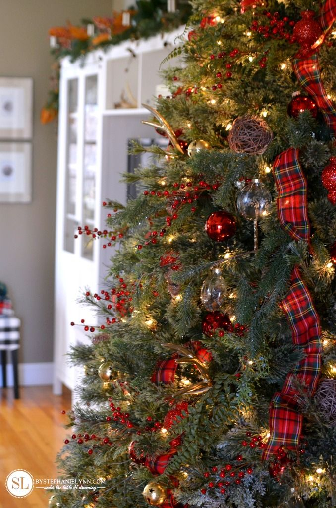 Traditional Red Tartan Plaid Christmas Tree Christmas
