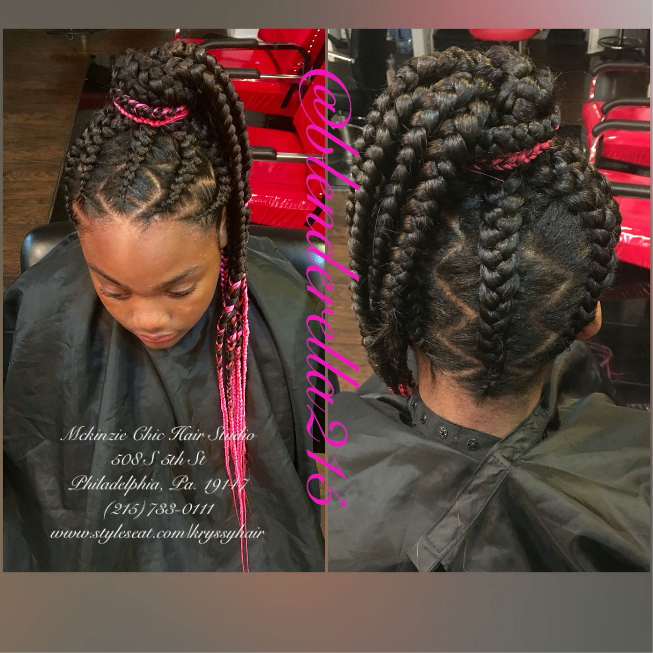braided updo! pink hair! protective styles! zig zag parts! ghana