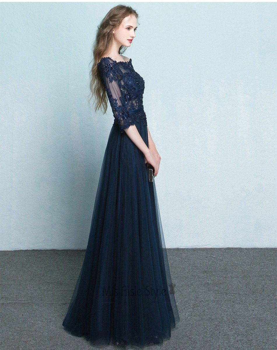 fcc69cda6e4 Full Length 3 4 Long Sleeves Navy Blue Tulle and Lace Prom Dress ...