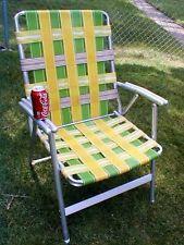 Vintage Green Yellow Aluminum Webbed Folding Lawn Chair Retro