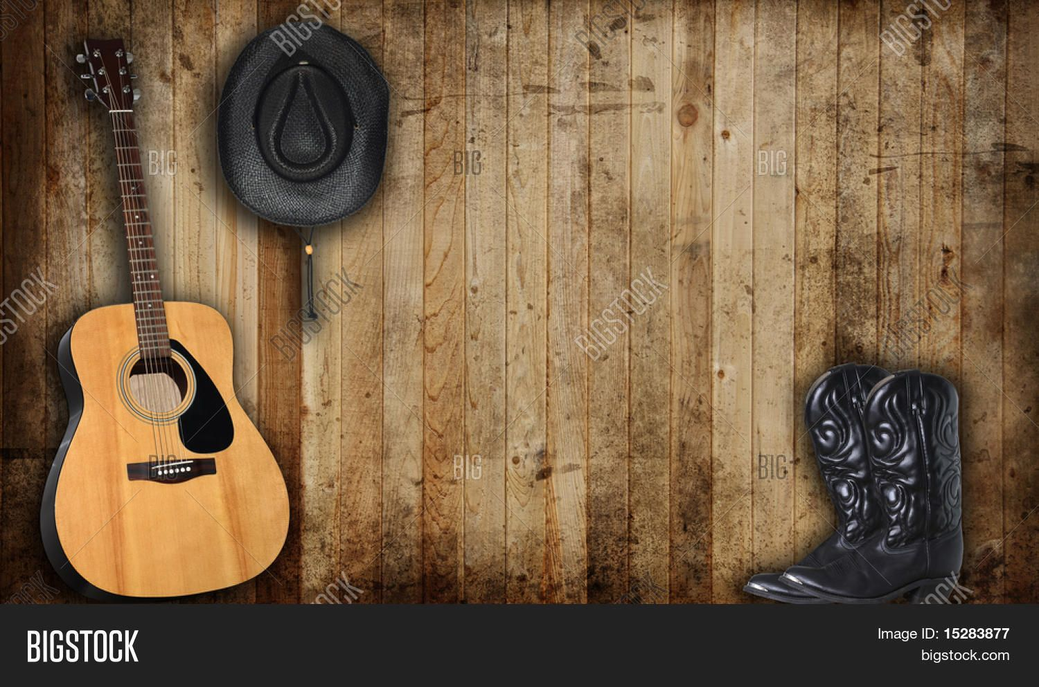 Cowboy hat boots and guitar against an old barn - Guitar border wallpaper ...