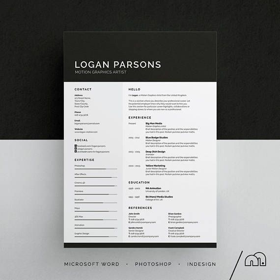 Resume Template  Cv Template Logan ResumeCv Template  Word
