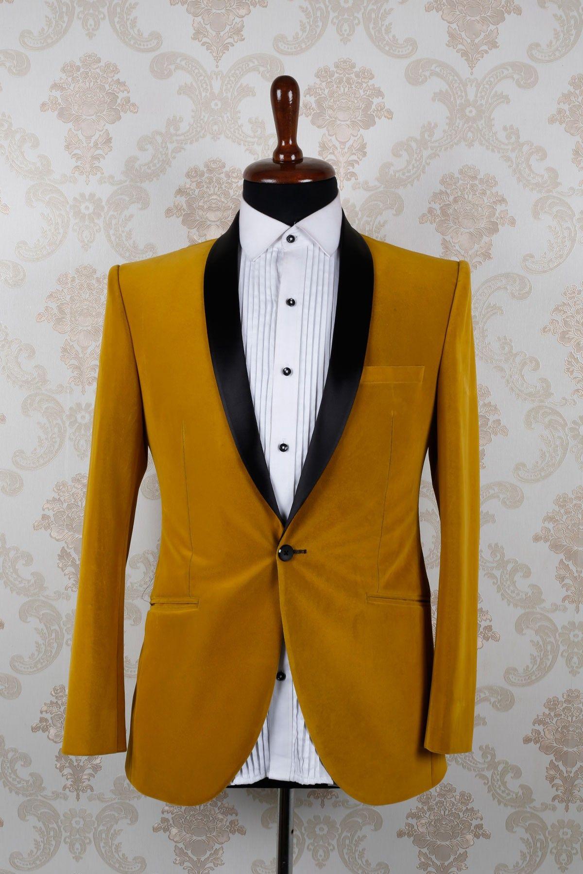Mustard Yellow Velvet Slim Fit Aesthetic Suit With Shawl Lapel Dasi Bowtie Tie Knit Wedding Best Man Self Bow Purple Flower St402
