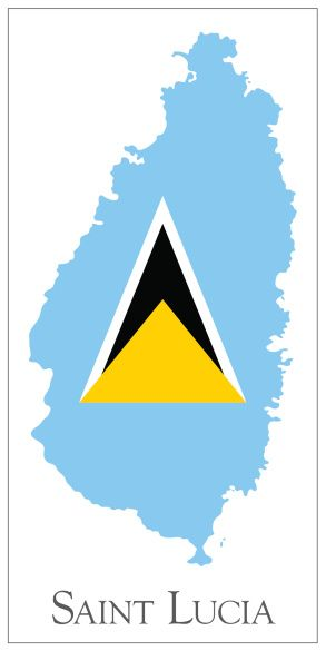 Vector Art Saint Lucia Flag Map St Lucia Flag St Lucia Lucia