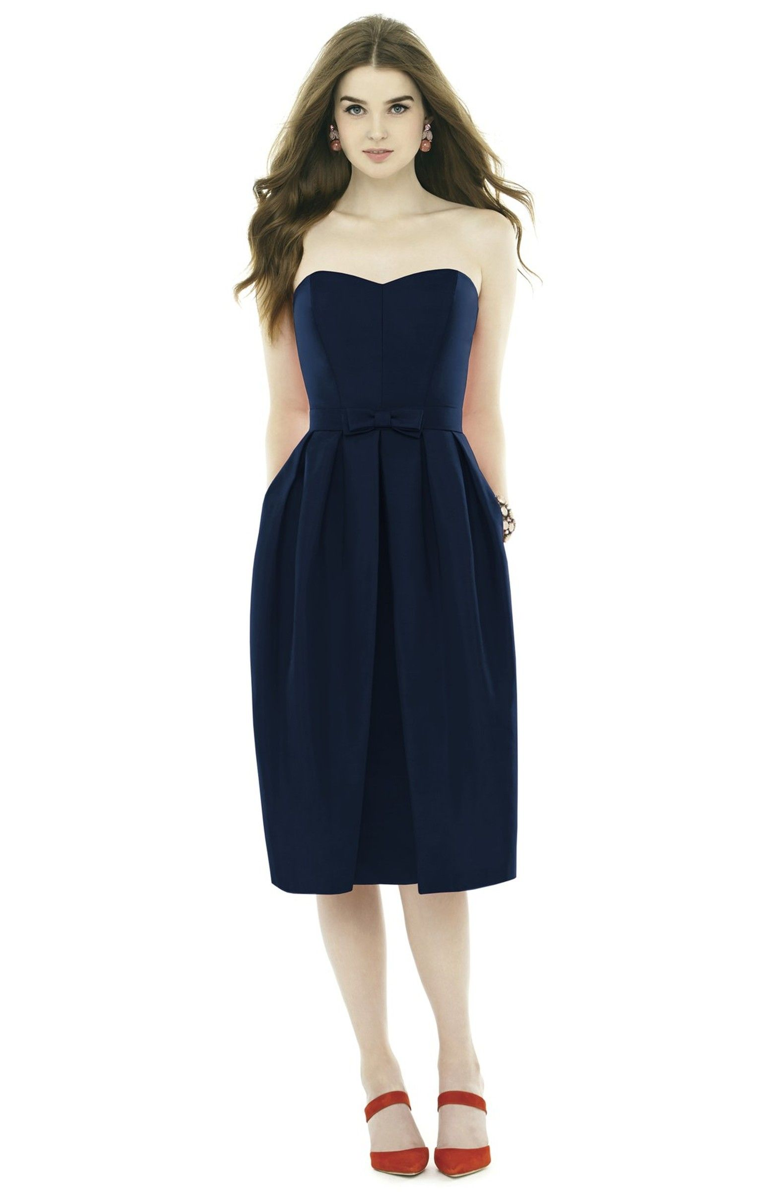 Strapless peau de soie midi dress with bow belt bow belt alfred