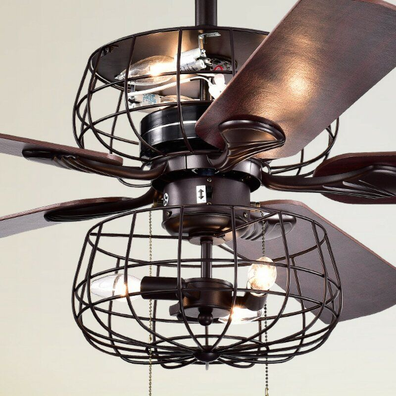Add Industrial Style To Your Home Decorating With This Oil Rubbed Bronze Ceiling Fan With Industrial Cage Bronze Ceiling Fan Ceiling Fan Ceiling Fan With Light