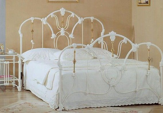 White Gloss Brass Ornaments Metal Queen Bed