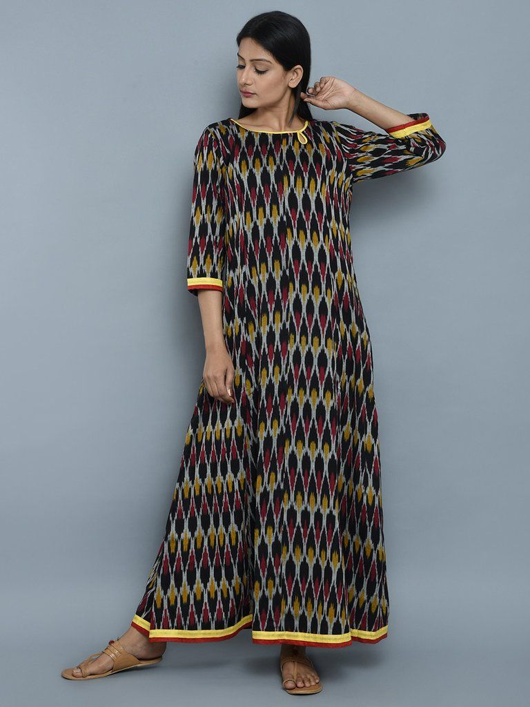 Multicolor Ikat Cotton Maxi Dress | THE LOOM WESTERN WEAR