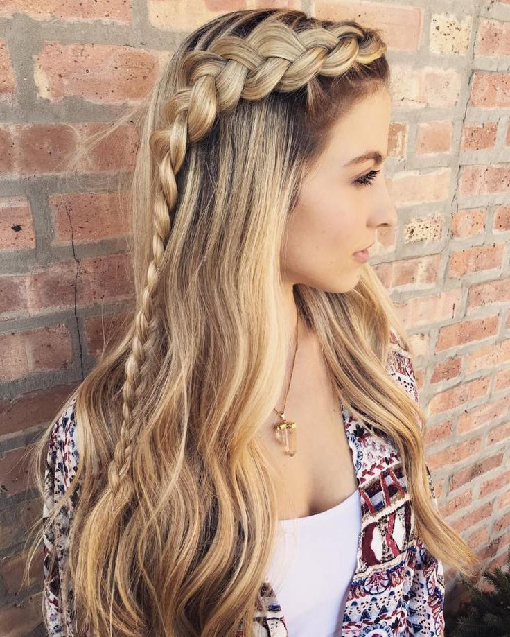 20 Long Hairstyles You Will Want To Rock Immediately 2 Half Braided Crown Straight Wavy Or Curly This Dutch Braid Hairstyles Thick Hair Styles Hair Styles
