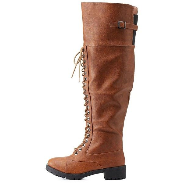 b1f080cc25cb1c Charlotte Russe Brown Belted Over-the-Knee Combat Boots by Dollhouse ...