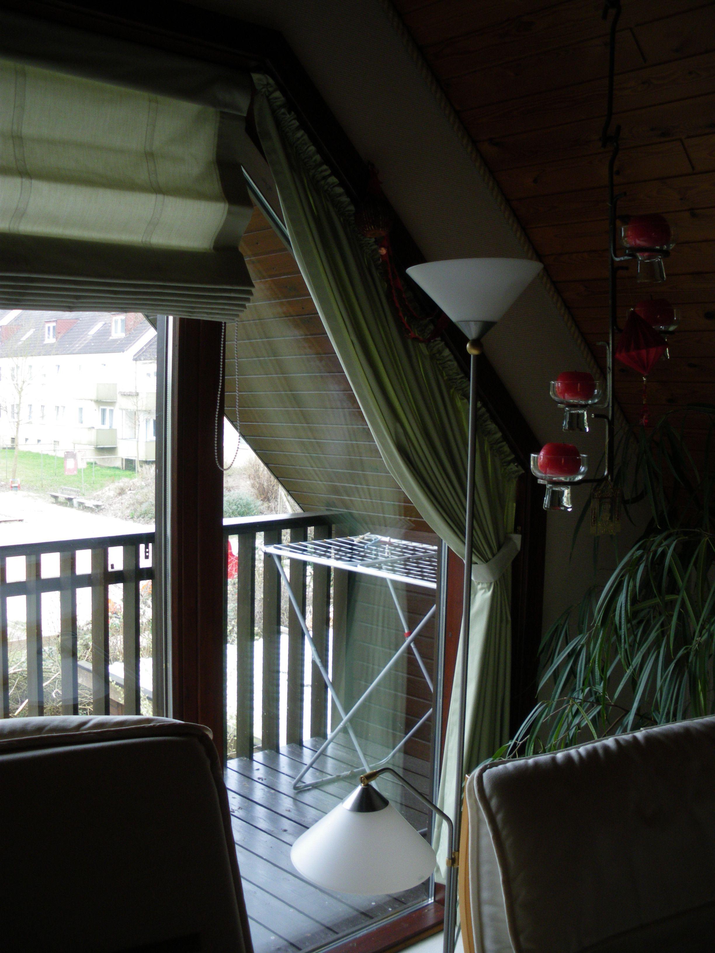 Dekoration #Dekorateur Schräges #Fenster #Ecklösung #Fensterlösung  #Raumidee #Einrichtungsidee #nähennachmass #Raffrollosystem #Kettenzug  #Dekorationsstoff ...
