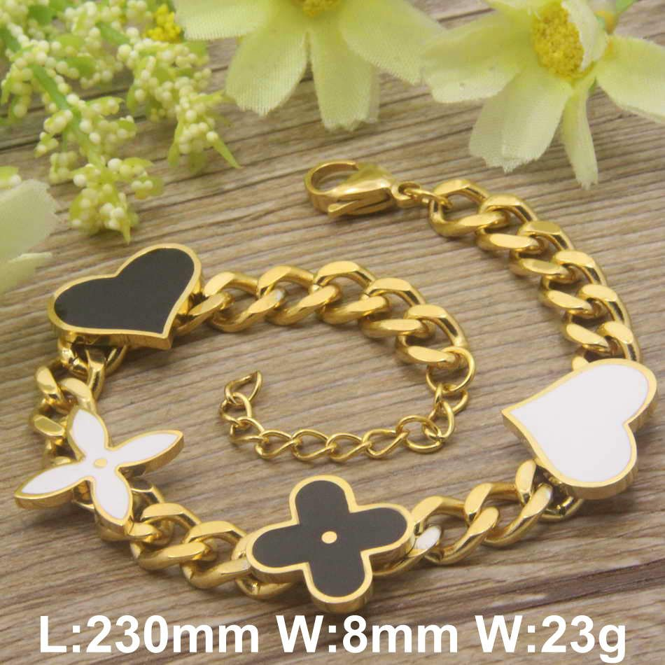 Hot sale new design cute gold color bracelets stainless steel