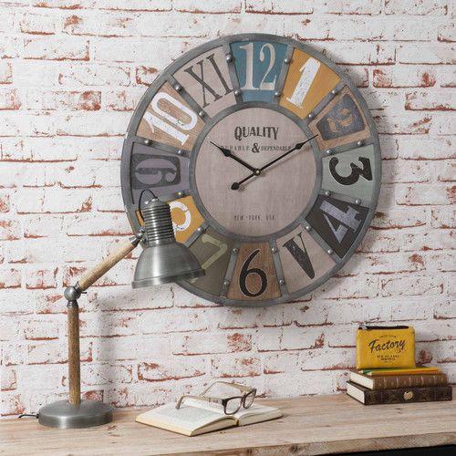 Horloge Avec Rivets En Metal Et Bois D 60 Cm Edwin Maisons Du Monde Pendule Maison Du Monde Maison Du Monde Horloge