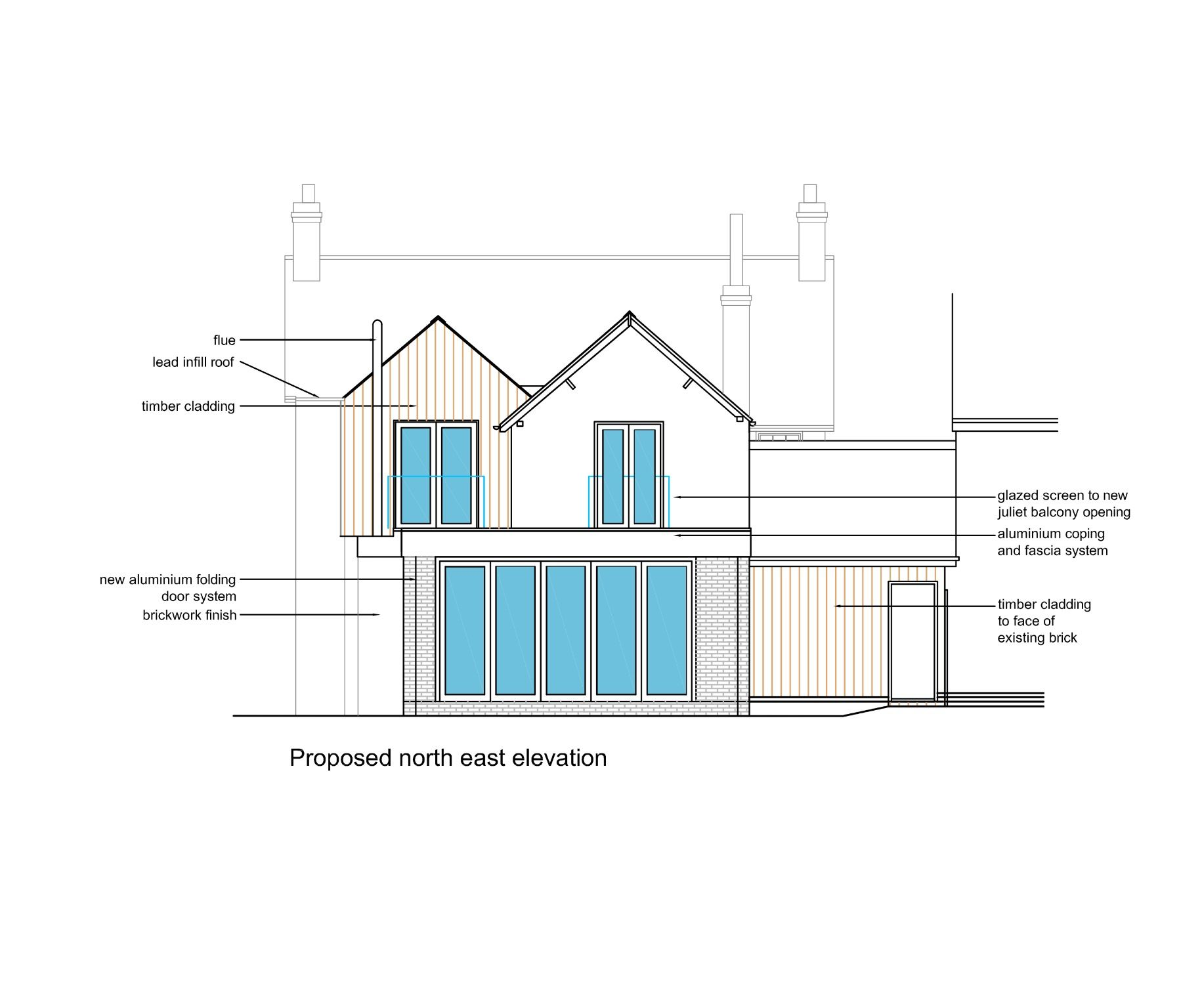 Final approved plans timber cladding  bifold doors flat roof off single storey extension and pitched from on with balconies also rh pinterest