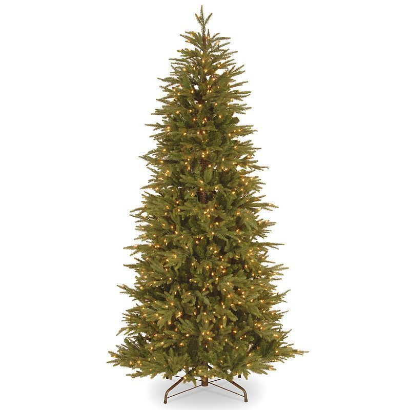 7.5-ft. Pre-Lit ''Feel Real'' Deluxe Fraser Fir Slim Artificial Christmas Tree, Green