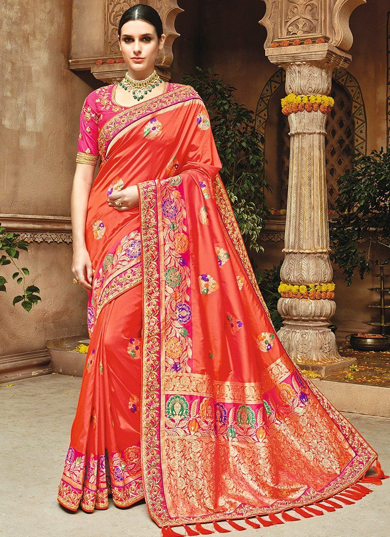 30c13657d Dark Orange and Pink Embroidered Silk Saree features a gorgeous pure silk  jacquard in weaving silk saree alongside an art silk blouse.