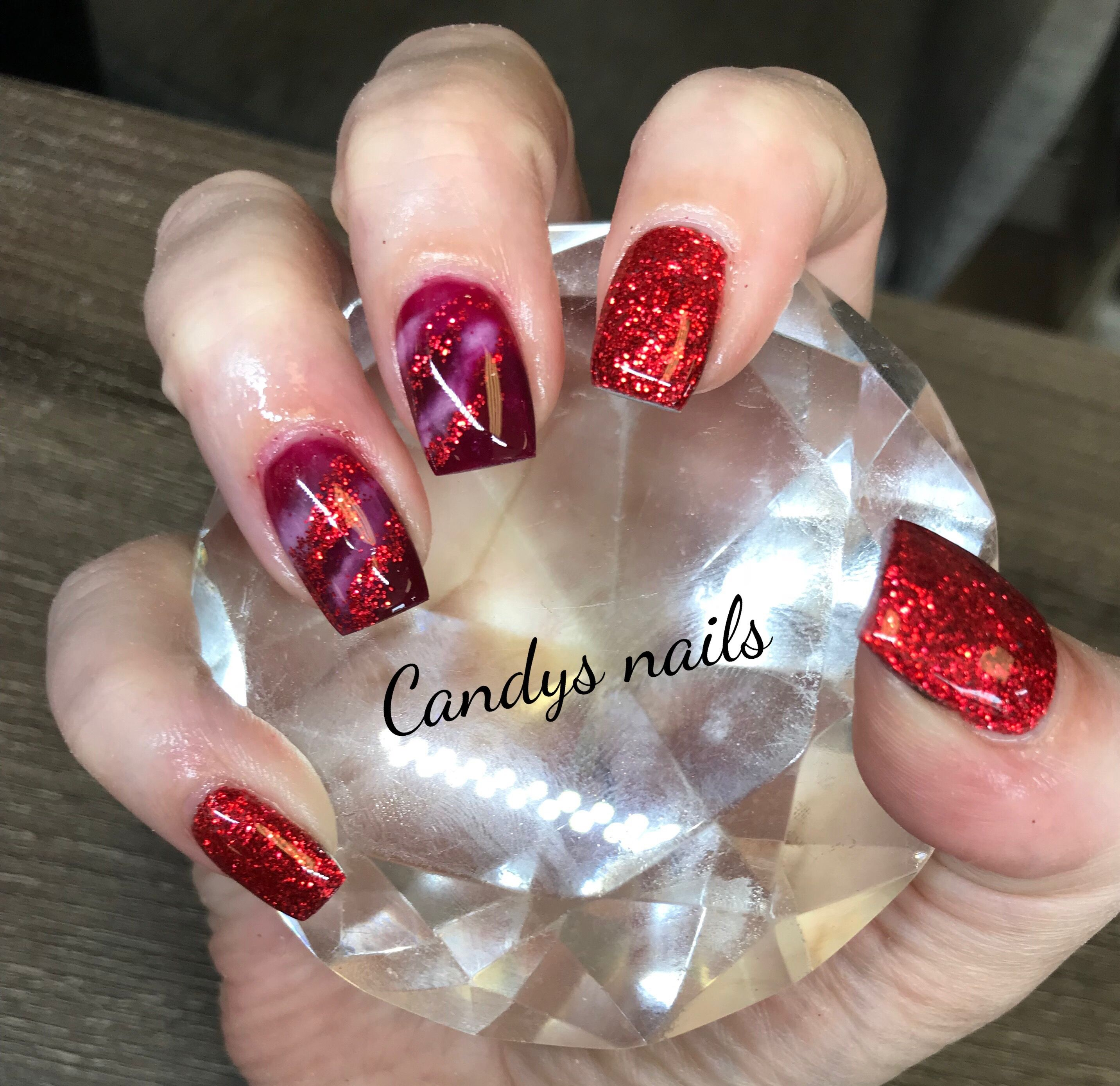 Red glitter marble design acrylic nails also candys pinterest rh