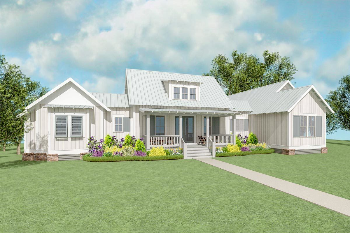 Exclusive farmhouse plan with side entry garage 130010lls architectural designs house plans