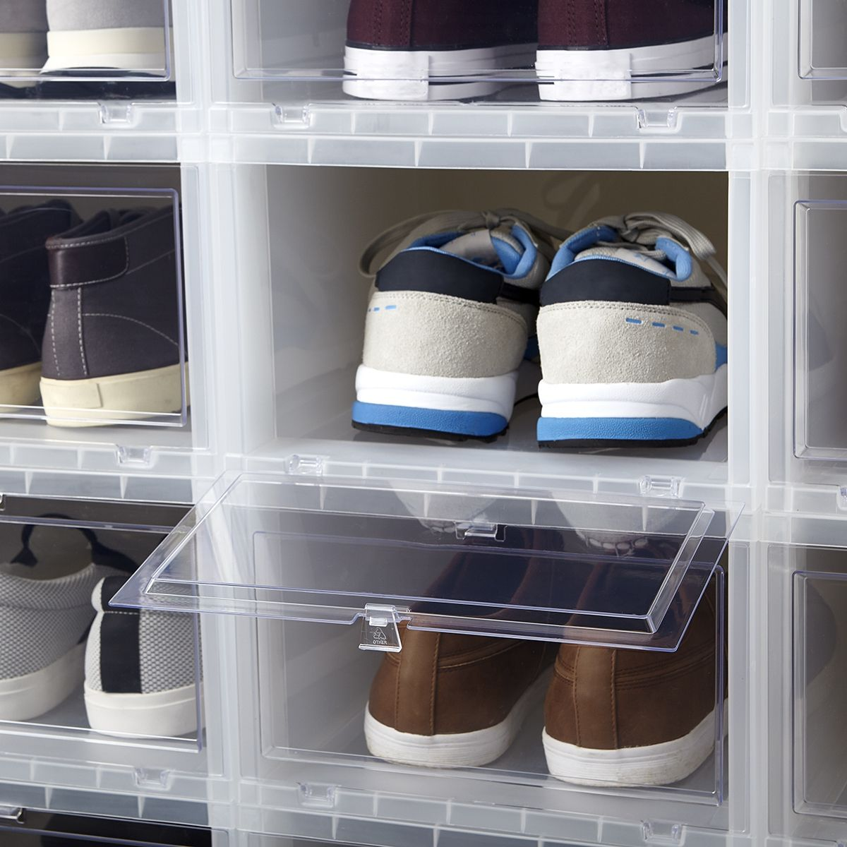 The Clear Window Of Our Drop Front Shoe Box Lets You Immediately
