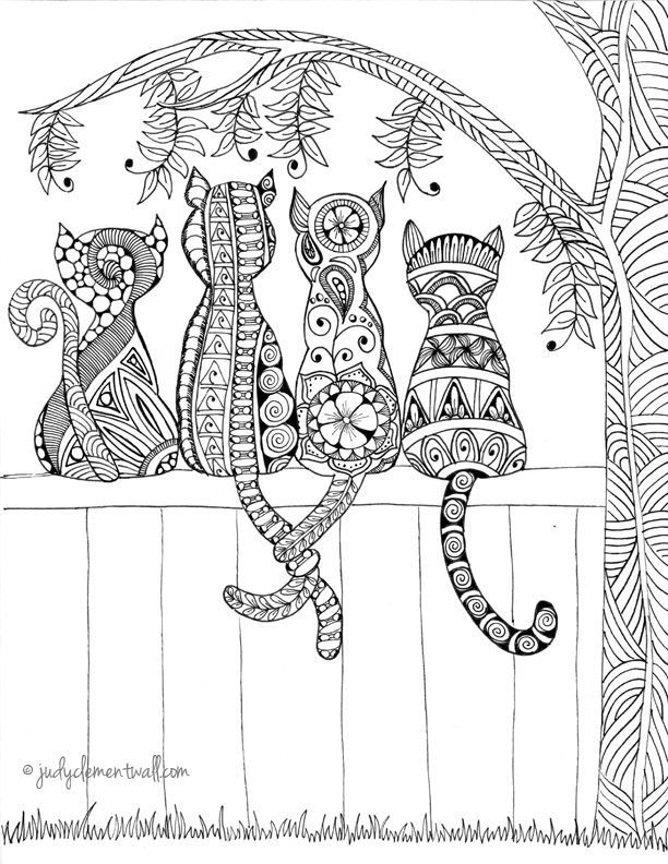 Cats-I love this! #adultcoloringpages