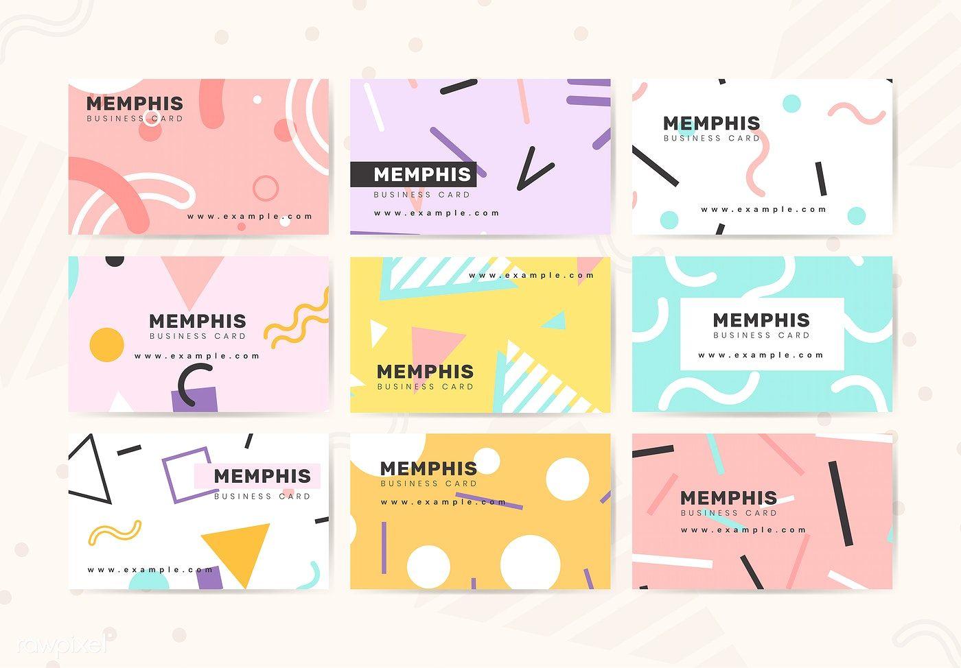 Download Premium Vector Of Memphis Name Card Design Vector 584753 Name Card Design Business Card Design Vector Business Card