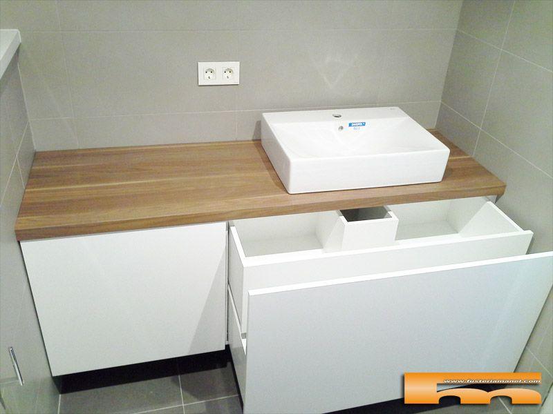mueble baño a medida lacado brillo sobre formica madera cajon ...