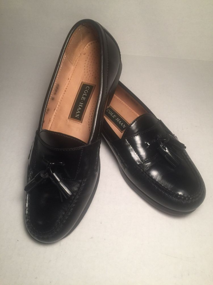 cf03136844e Cole Haan Men Tassle Loafers Leather Slip On Size 10 D Black Very Good  Condition