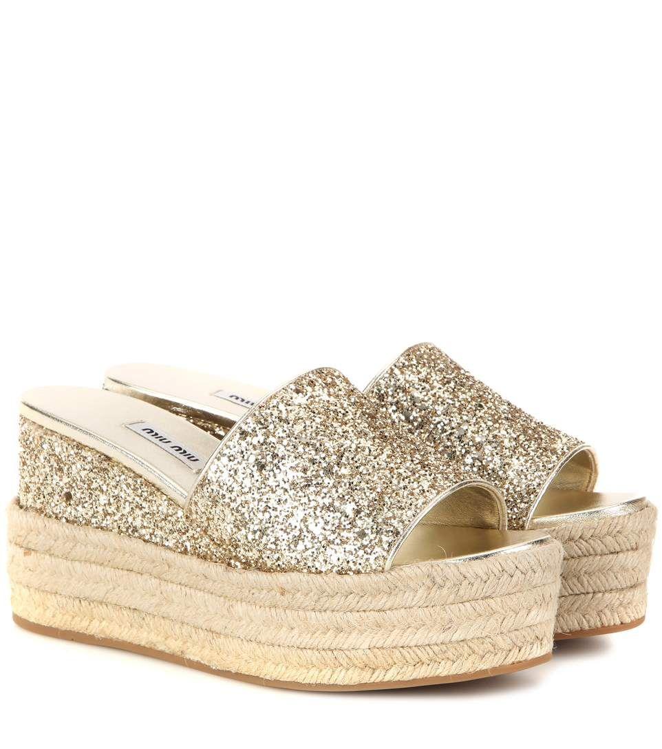 730ad1ff0999 MIU MIU Glitter Platform Sandals.  miumiu  shoes  sandals