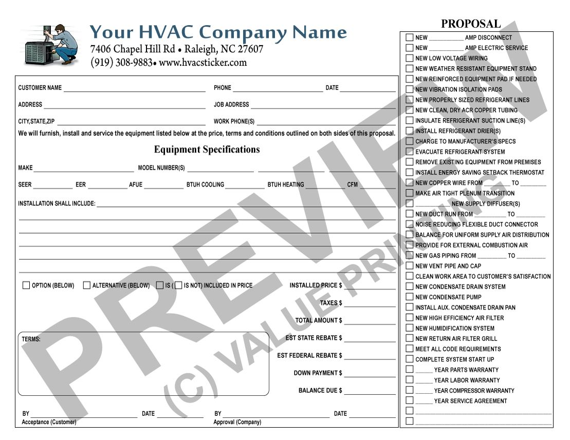 Great Hvac Sales Contract Form Where Potential Rebates Are Listed