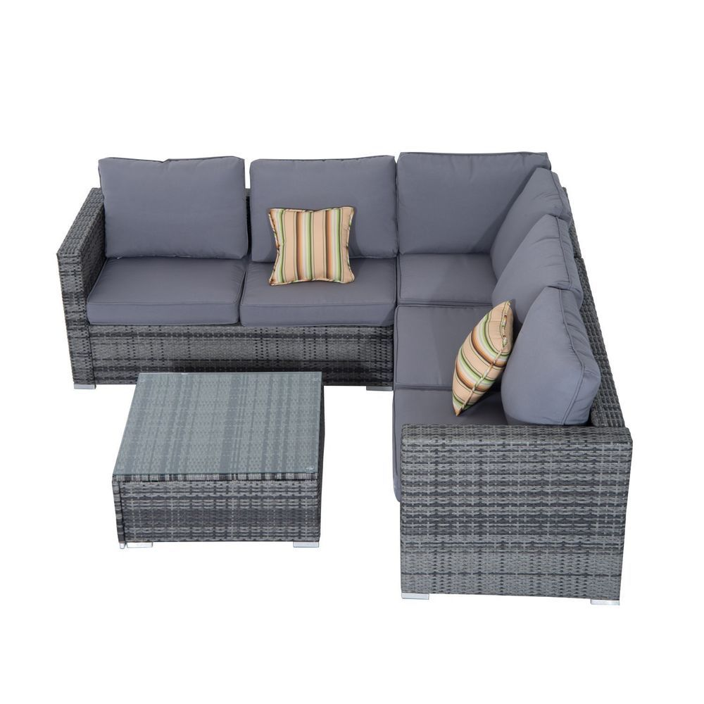 Grey Outdoor Corner Sofa Lounge Garden
