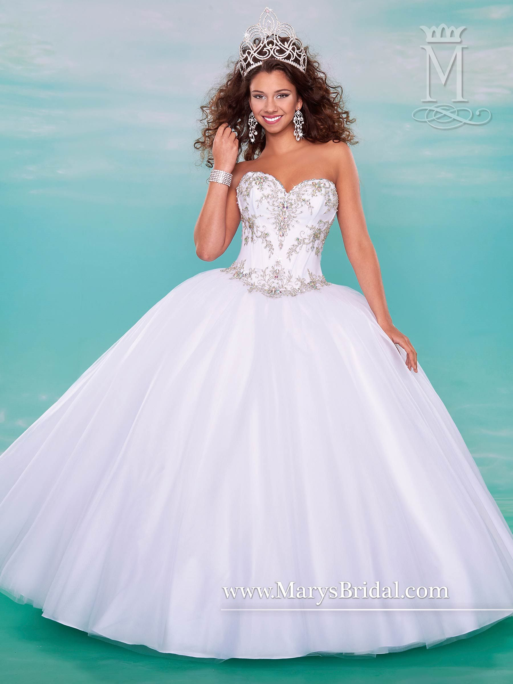 Style 4620: Strapless tulle quinceanera ball gown with sweetheart ...