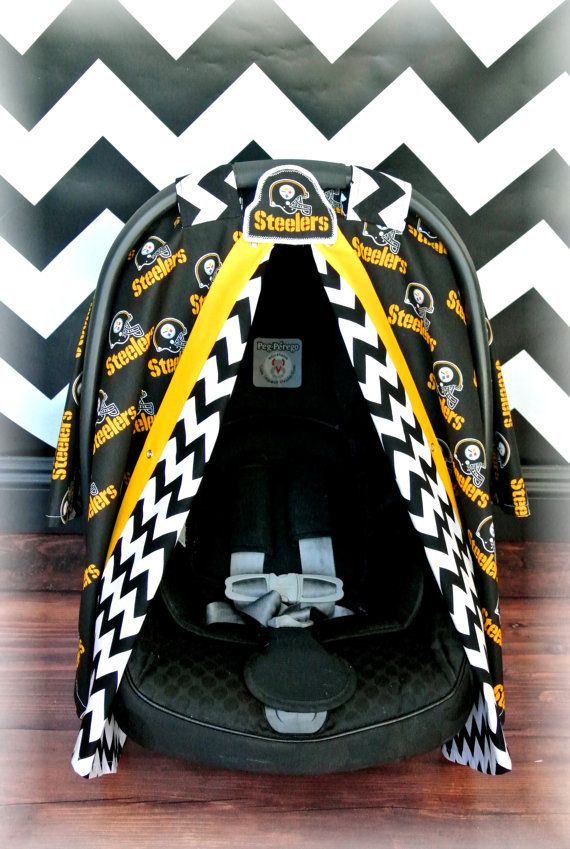 Pittsburg STEELERS Car Seat Canopy By JaydenandOlivia Baby 2017 Coordinating Colors