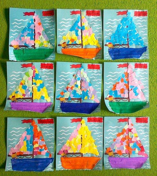 Art Projects for Kids Summer Sailboats Summer Crafts For Kids, Spring Crafts, Projects For Kids, Art For Kids, Art Projects, Summer Art, Kindergarten Art, Preschool Crafts, Kids Crafts
