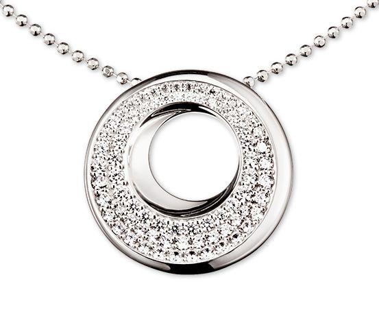 Strieborný náhrdelník so zirkónmi* zasadenými v pavé, ródiovaný