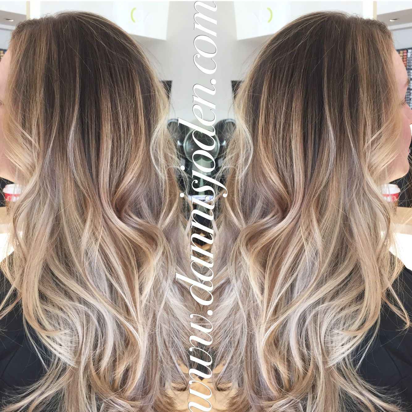 Neutral blonde balayage ombré with a long layered haircut  beach waves! Hair by Danni
