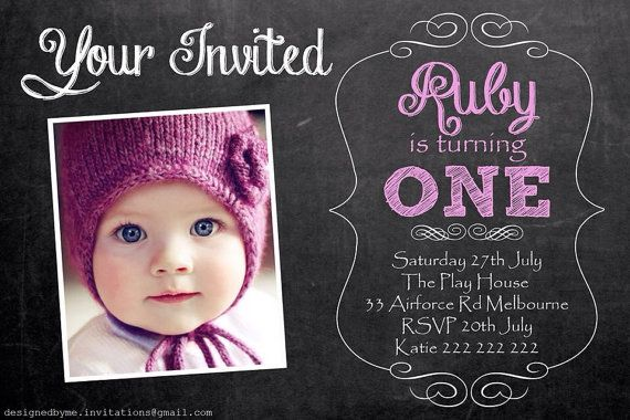 Chalk Board Personalised 1st Birthday Invitation DIY Printing – Custom 1st Birthday Invitations
