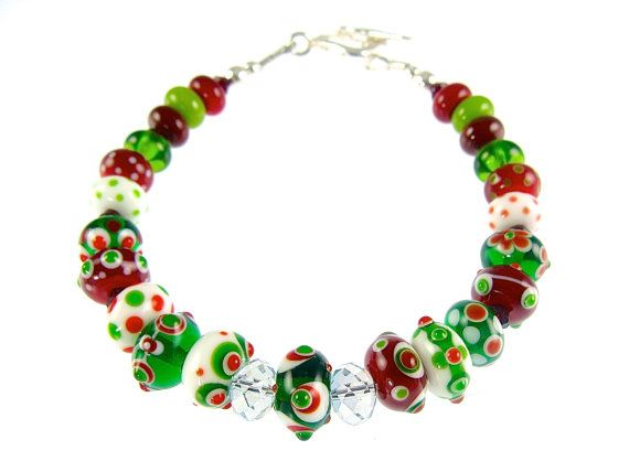 Christmas Bracelet Glass Bead Bracelet Colorful by JadjusJewelry, $92.00