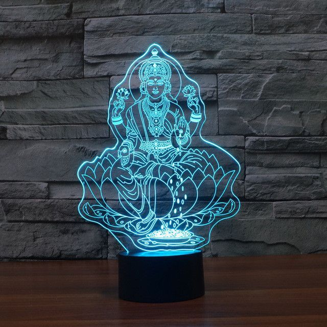 Traditional Buddhist 3d Optical Illusion Lamp Led Night Light Lotus Lamp Night Light