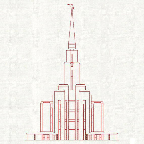 Oquirrh Mt. Utah LDS Temple, Redwork Embroidery Design, digital ...