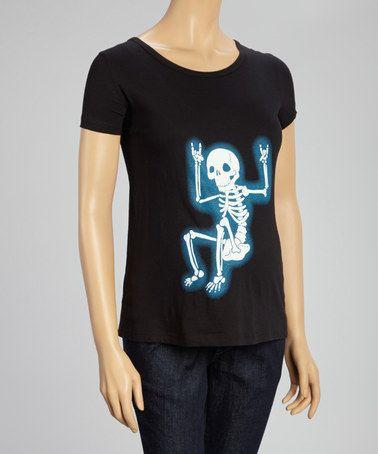 5e20dd9177c71 Black Rocker Skeleton Maternity Tee by Crazy Dog #zulily #zulilyfinds