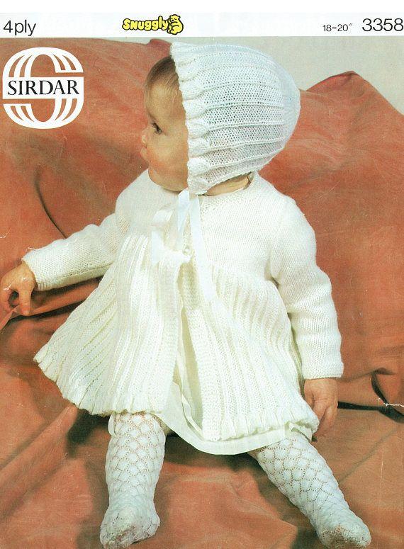 0df85d221 PDF Vintage Baby Knitting Pattern  Frilly   White