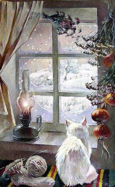 ysa-4-christmas: #gif #cat #winter - Güler Tüfek #vintageweihnachten