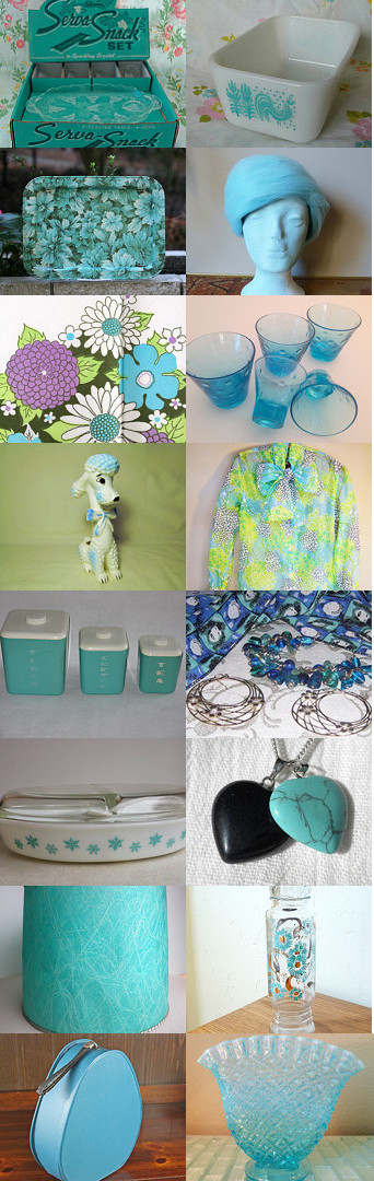 Vintage Turquoise With TeamKitsch. by livingavntglife on Etsy--Pinned with TreasuryPin.com
