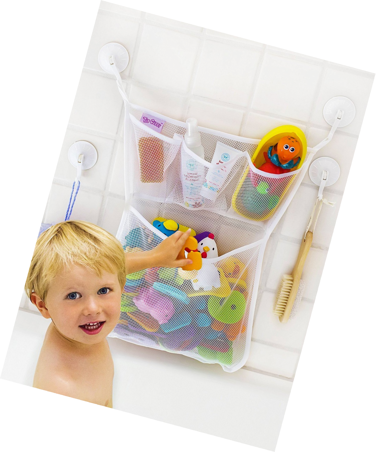 Bath Toy Bag Storage Organizer Suction Cup Bathroom Mould Free