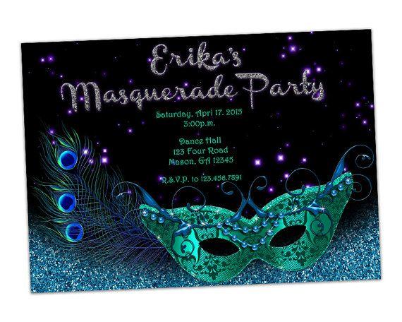 Teal Blue Glitter Masquerade Invitation Mardi Gras Mask