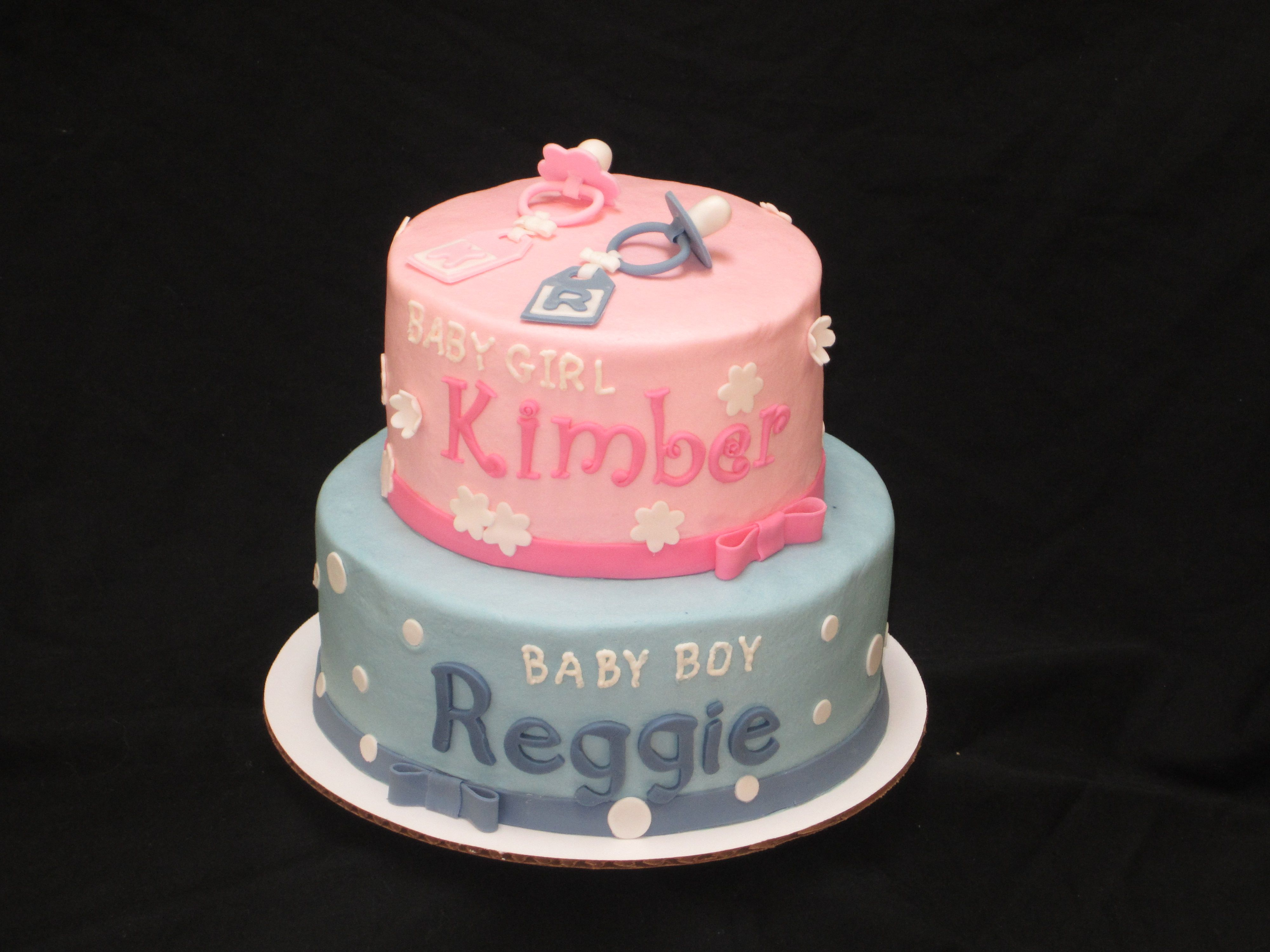 Baby shower cake for boy/girl twins