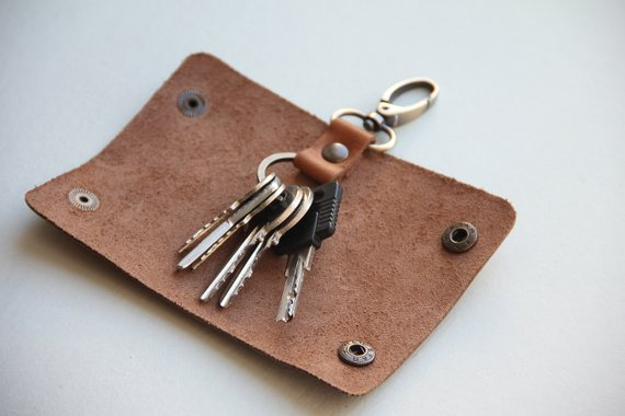 Genuine Leather Men/'s Key Holder Accessory 6 Key Chain Wallet Case Burgundy