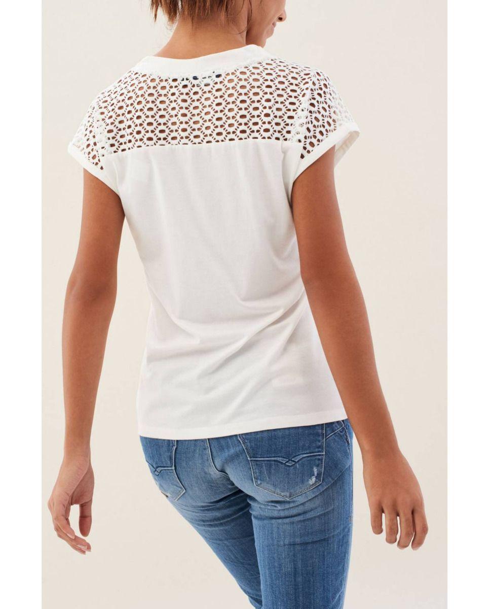 800ed90ef Camiseta de mujer Salsa de manga corta con espalda calada | Blusas ...