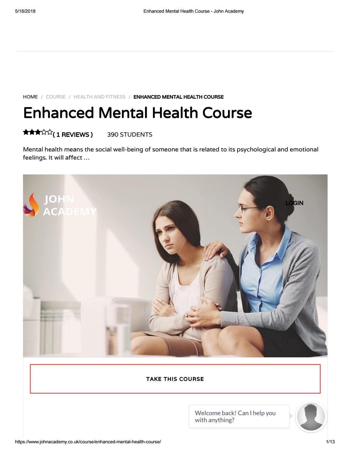 Enhanced Mental Health Course John Academy Mental